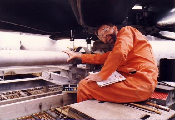 This is Norm Voelzow doing a two-step alignment using our Optalign IR on a long Jackshaft on a Cooling Tower years ago.